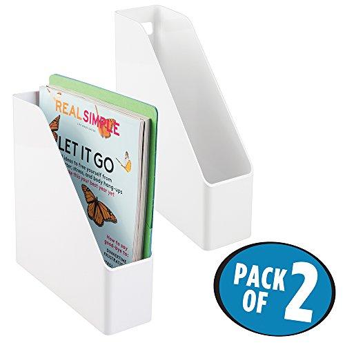 mDesign Office Supplies Desk Organizer for File Folders, Magazines, Notebooks - Pack of 2, White (Desks Slim)