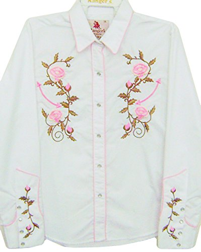 Modestone Women's Embroidered Long Sleeve Western Camisa Vaquera Floral Embroidered White