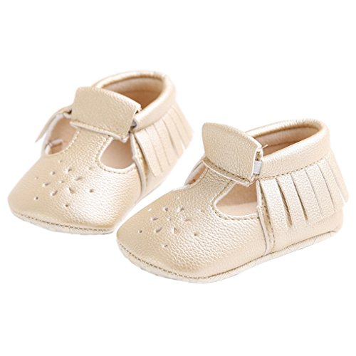 (lakiolins Baby Girls T-Straps Tassel Mary Jane Anti-Slip Walking Shoes House Crib Shoes Golden Size 12)