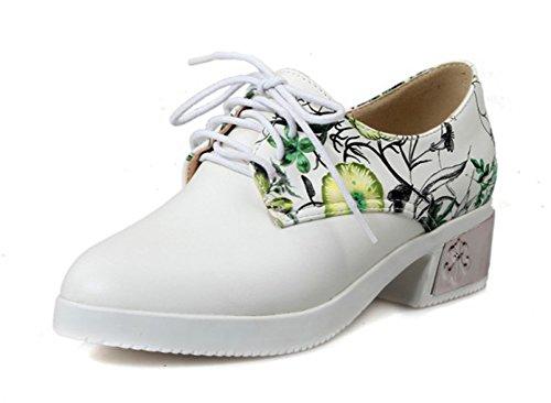 Aisun Damen Rund Verschleißfest Mittel Absatz Prints Blumen Schnürhalbschuhe Grün