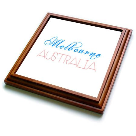 3dRose Alexis Design - Cities of the world - Cities Of The World - Melbourne Australia red, blue text on white - 8x8 Trivet with 6x6 ceramic tile (trv_283829_1)