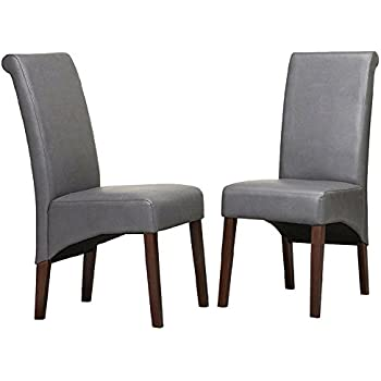 Leatherette Dining Chairs Set of 2 Solid Wood Upholstered Dining Chair Modern Contemporary Tufted Cushion Dining Room Side Chair Kitchen Living Room ...