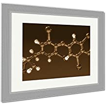 Ashley Framed Prints Thyroxine Hormone Structure, Wall Art Home Decoration, Sepia, 26x30 (frame size), Silver Frame, AG6071074