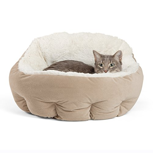 Best Friends by Sheri OrthoComfort Deep Dish Cuddler - Self-Warming Cat and Dog Bed Cushion for Joint-Relief and Improved Sleep - Machine Washable, Waterproof Bottom - for Pets Up to 25lbs - Memory Foam Cat Bed