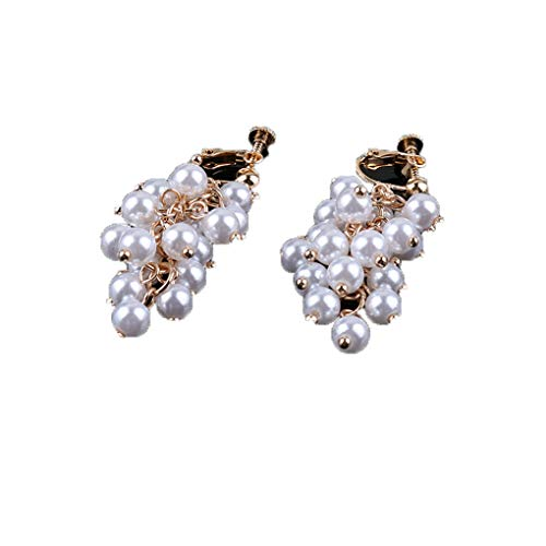 - Simulated Pearl Clip On Earrings Grape Bunches Hanging Dangle Without Pierced Wedding Party Ear Clip Light Yellow Gold Color