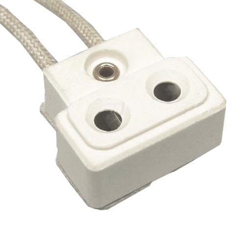 SYLVANIA 69005 - TP22H - Ceramic Steatite Socket - 44 in. Leads - 16 AWG - 200 Deg. C - Use with Halogen Lamps