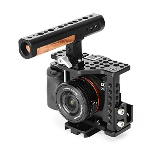 THOR Aluminum Alloy Camera Video Cage Film Movie Making Kit include: (1) Video Cage (1) Detachable top handle (1) Cable Clamp (1) Compatible plate (1) Hot shoe mount for Sony A7S II by Thor