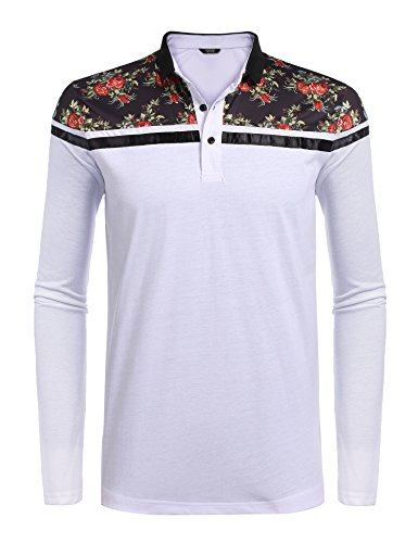 Classic Mens Shirt Stripe (COOFANDY Men's Classic Floral Stripe Long Short Sleeve Light Weight Polo Shirts,Type 2 White,Small)