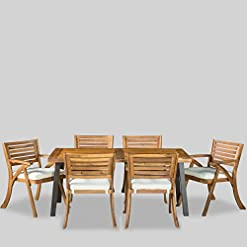Garden and Outdoor Christopher Knight Home Desoto Acacia Wood Patio Dining Set, 7-Pcs Set, Teak Finish With Rustic Metal patio dining sets