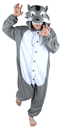 Women Men Grey Wolf Unisex Adult Animal Sleep Suit Cosplay Kigurumi Costume Pajamas Outfit Costume Nightclothes Onesies Clothing Pajamas Tracksuit (Medium) (Female Wolf Costume)