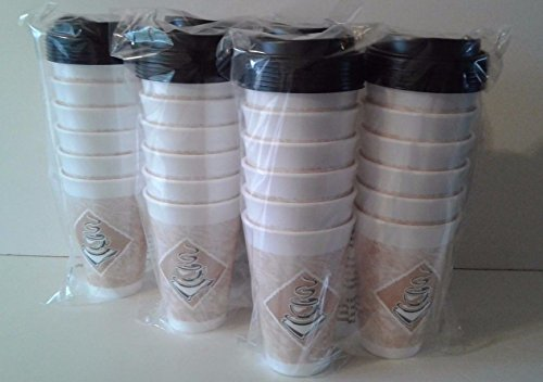 AMAZZANG-16 oz Dart Disposable To Go Hot/Cold Cafe Coffee Cups w/Lids (36 Cups & Lids)