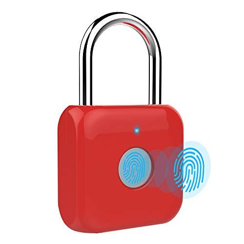 (Fingerprint Padlock - eLinkSmart Keyless Biometric Lock USB Charging for Outdoor Backpack, Luggage Suitcase, Bike, Office,Gym (Red))