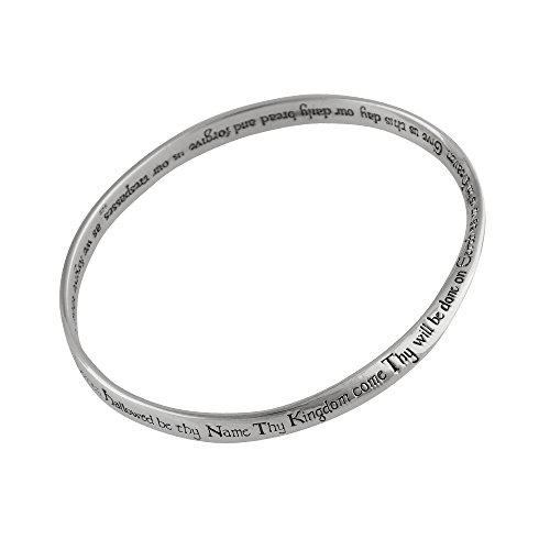 FashionJunkie4Life Sterling Silver The Lord's Prayer Mobius Bangle Bracelet, Polished
