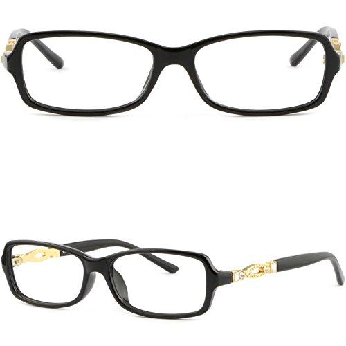 (Rectangular Light Women Plastic Frame Rhinestone RX Glasses Shiny Black)