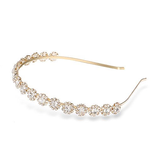 Ammei Bridal Headpiece Wedding Headband with Crystal and Ribbons Hair Jewelry (Gold Headband)