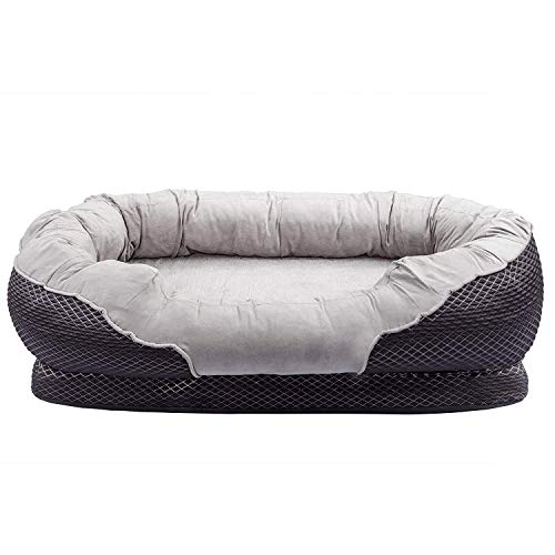 (Zodae Orthopedic Dog Bed with Padded Rim cushion and Nonslip Bottom, Grooved Orthopedic Foam Pet Bed with Extra Comfy Cotton (Small - 32''x 21''))