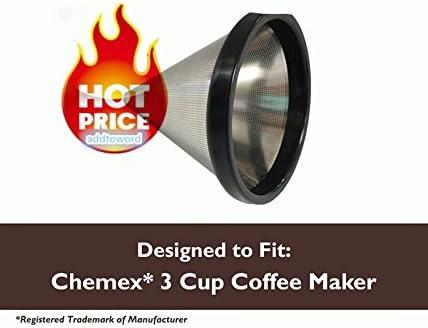 Lavable y reutilizable filtro de café de cono para Chemex cafetera 3 tazas FP-2: Amazon.es: Hogar