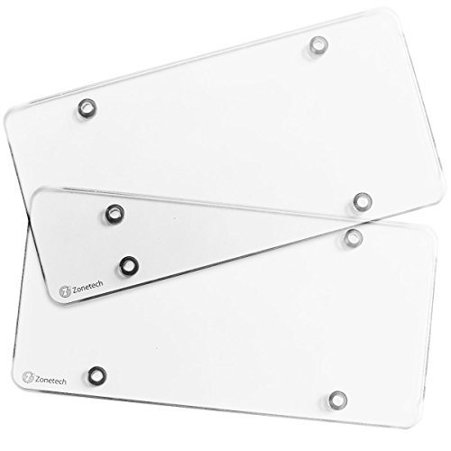 Zone Tech Clear License Plate Shields - 2-Pack Novelty/License Plate Clear Flat Shields (Smoked Flat Plate)