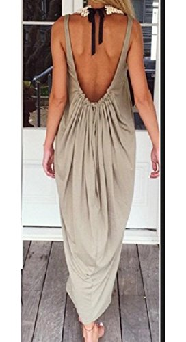 Neck Khaki Dress Coolred Sleeveless Color Backless Tank Scoop Solid Women Solid WYYwBqvp
