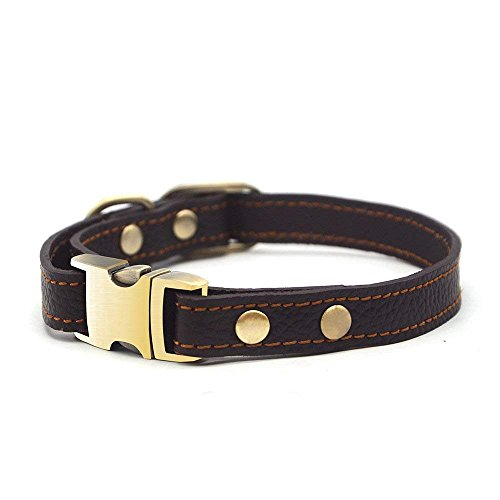 Wellbro Luxury Real Leather Dog Collar, Adjustable and Soft Pet Collar with Solid Brass Buckle for Small, Medium and Large Dogs, Adjustable 9.6-13.2x0.6 Inch, Black