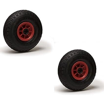 Lote de 2 ruedas inflables 3.00-4 (2PR) para carretilla y carreta,