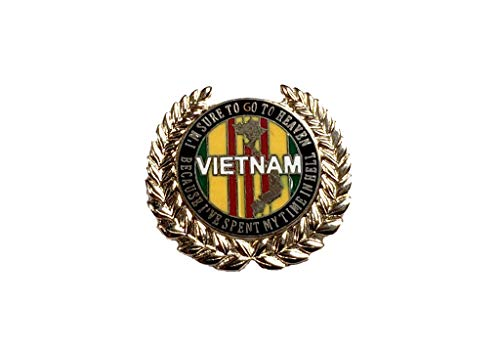 (Vietnam Veteran With Leaves Deluxe Military Lapel Hat Pin Marines Army Navy Air Force 7523)