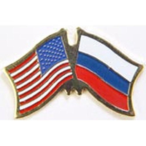 American & Russia Flags Pin 1