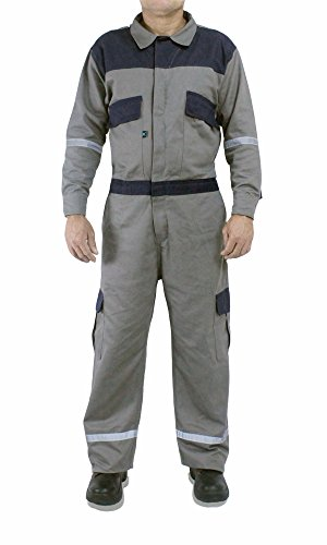 Kolossus men work deluxe long sleeve cotton coverall with reflective tape KC01 (XL Regular, Gray)
