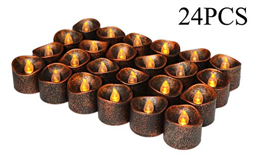 Halloween Party Decorations, Led Flickering Black Fake Electric Small Plastic Flameless Dropless Outdoor Indoor Home Party Pumpkin Decorative Halloween Decoration Candle Supplies Ideas, 24PCS ()
