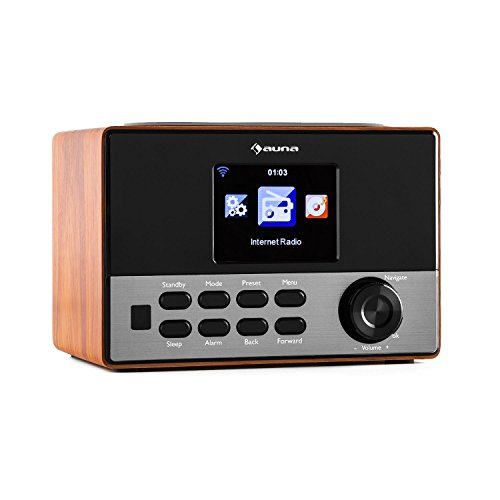 auna Connect 90 BK Internetradio WLAN Küchenradio Netzwerkplayer (Dual Weckfunktion, Farbdisplay, Wifi, MP3-fähiger USB-Slot) braun