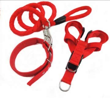 Red L Red L TangFei Woven Nylon Three-Piece Traction Rope Dog taidijinmao Traction Dog Rope Traction Rope (color   Red, Size   L)