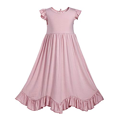 Girls Ruffles Maxi Dress Pink Color Halter Lace Fly Sleeve Cotton Party Dress Skirts (Pink-One Layer, 4T)