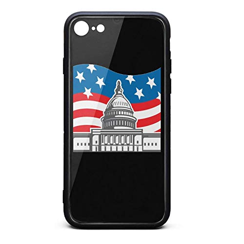 (Phone Case for iPhone 6/iPhone 6s Fashion United States Capitol Dome Texas Tempered Glass Black Anti-Scratch TPU Rubber Bumper Shock Skin for Young Women Back Cover)