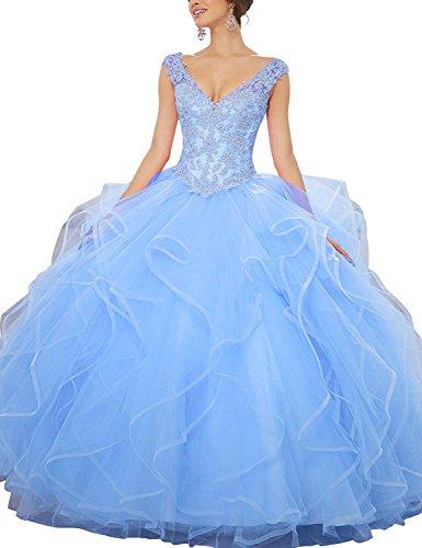 Kleider Spitze Prom Kleider Lang Bp151 Besswedding Frauen Formale Blau Organza Sleeveless q8Apn6Px