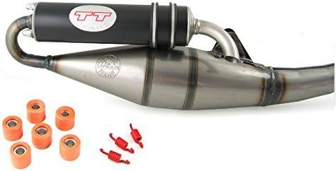 Leovince Tt Schwarz Tuning Sport Auspuff Kompatibel Mit Piaggio Tph 50 Tph X Tph Xr Typhoon 50ccm 2takt Auto