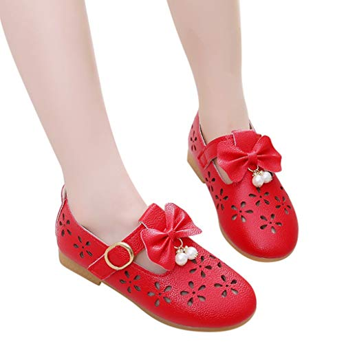 Tronet Kids Sandals Baby Boys/Girl,Children Kids Baby Girls Bowknot Pearl Hollow Dance Single Princess Casual Shoes Red (Bear Hollow)