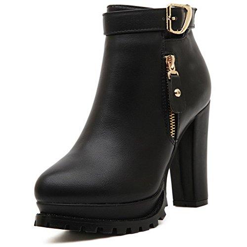 Allhqfashion Womens Ankle High Solid Zip Tacco Tacco Chiuso Stivali Neri