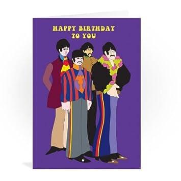 The Beatles Happy Birthday To You Purple Greeting Card Amazon