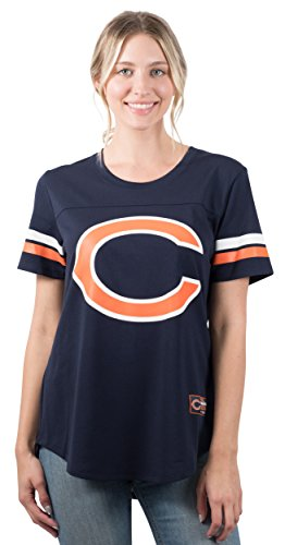 Chicago Bears Crew Shirt - NFL Women's Chicago Bears Jersey T-Shirt Mesh Varsity Stripe Short Sleeve Shirt, X-Large, Blue