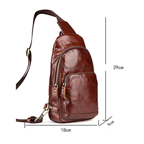Zhuhaitf alta calidad Mens Lightweight Durable Crossbody First Layer Cowhide Shoulder Chest Bag Sling Bag Backpack