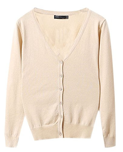 Manches Chandail Classique Basic Top Col Femme Ladies Cardigan Casual Beige Haut Gilet Pulls Jumper Pull V Cardigans Avec Longues Boutons Tricot Pull B7vOwHwIn