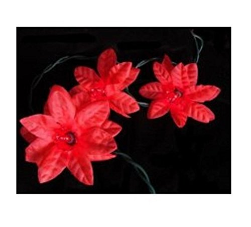 Holiday Lights Poinsettias - Set of 20 Red Poinsettia Holiday Flower Christmas Lights - Green Wire