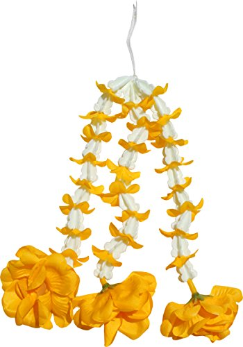 Full Funk Plastic Love Flower Chain For Thai Outfits dawk Ruk Dance and Theater, Yellow