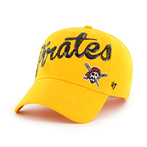 MLB Pittsburgh Pirates Women's Sparkle Script Clean Up Hat, Women's, Gold (Pittsburgh Pirates Official Base)