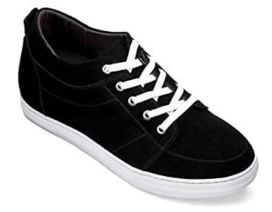 CALDEN - K4125771-2.6 Inches Taller - Size 11 D US - Height Increasing Elevator Shoes (Black Suede Campus Style Lace up Casual Shoes)
