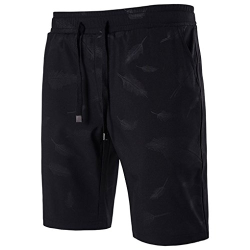 (Pervobs Men Shorts, Big Promotion! Mens Shorts Elastic Drawstring Print Swim Trunks Quick Sport Beach Surfing Swimming Shorts Pants (5XL, Black))