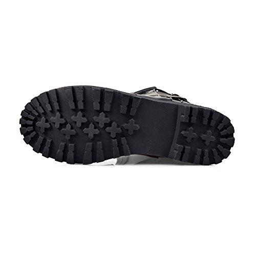 Balamasa Dames Bezaaide Bergkristal Gespen Van Metaal Verhogen Binnen Geïmiteerde Leren Laarzen Zwart