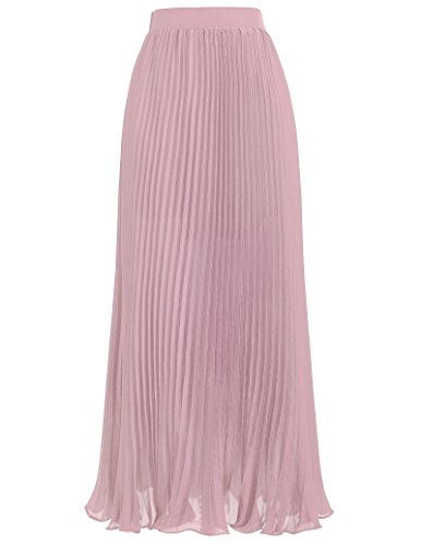 Kate Kasin Women Ankle Length Pink Pleated Skirts for Bridal Shower Size S KK614-2