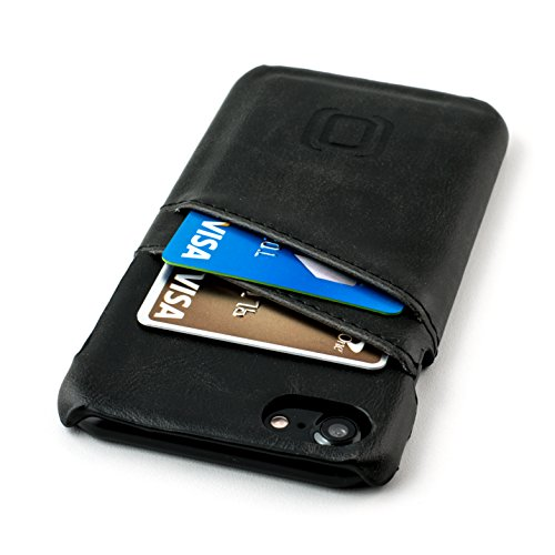 iPhone 8 and iPhone 7 Card Case by Dockem- Minimalist Vintage Synthetic Leather Wallet Case, Ultra Slim Professional Executive Snap On Cover with 2 Card Holder Slots, Black Authentic Card