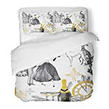 Emvency Bedding Duvet Cover Set Watercolor in Retro Beautiful Couple Bottle of Champagne Glasses Greyhound Dogs Jewellery Clock 3 Piece Set with 2 Pillow Shams Queen 90'x90' Zipper Closure